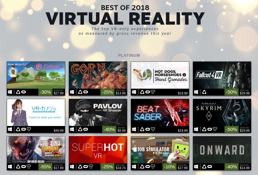 100 nejprodávanějších Steam VR her